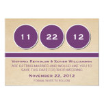 "Modern Circles Save the Date Announcement, Purple 5"" X 7"" Invitation Card"