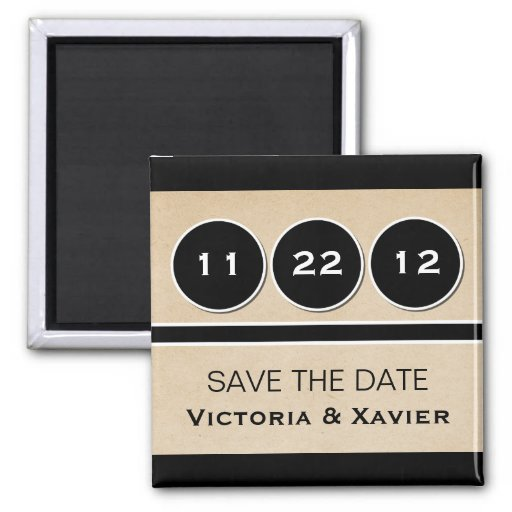 Modern Circles Save the Date Magnet, Black 2 Inch Square Magnet