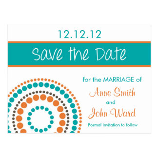 Modern Circles Save the Date - Orange & Turquoise Postcard