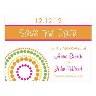 Modern Circles Save the Date - Pink & Orange Postcard