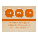 Modern Circles Save the Date Postcard, Orange