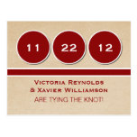 Modern Circles Save the Date Postcard, Red