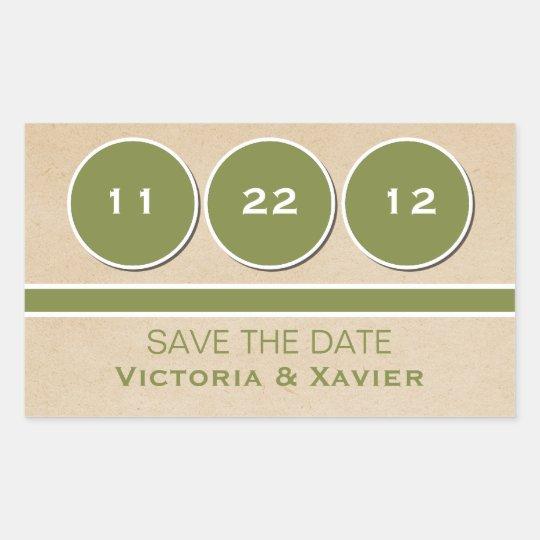 Modern Circles Save the Date Stickers, Green Rectangular Sticker
