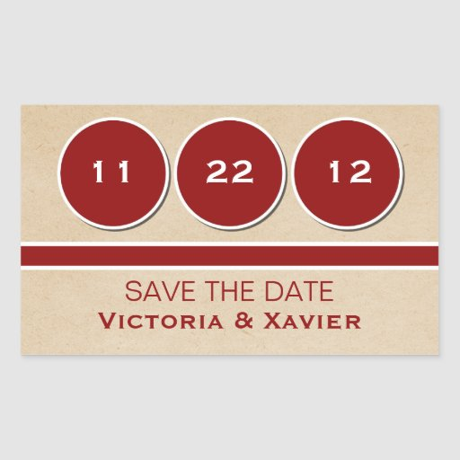 Modern Circles Save the Date Stickers, Red Rectangular Sticker