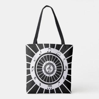 Modern circular black white musical notes design tote bag