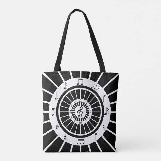 Modern circular black white musical notes design tote bag