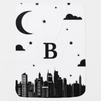 Modern City Scape & Night Sky Baby's Initial