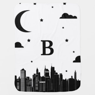 Modern City Scape & Night Sky Baby's Initial Receiving Blanket
