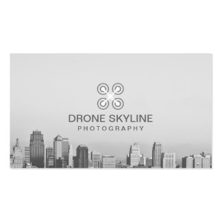 Modern City Skyline Aerial Video & Photography Double-Sided Standard Business Cards (Pack Of 100)