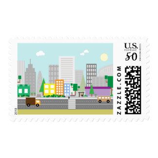 "Modern city style street Medium,2.1"" x 1.3 Postage"