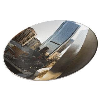 modern city wall building porcelain plates