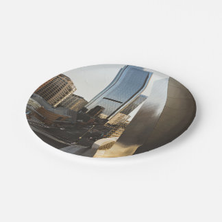 modern city wall building 7 inch paper plate