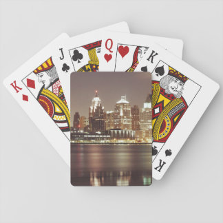 modern cityscape of detroit city playing cards