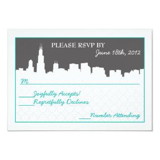 Modern Cityscape RSVP Reception cards Custom Announcements