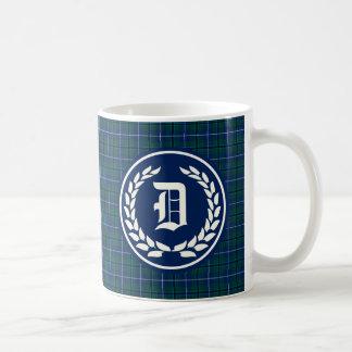 Modern Clan Douglas Dark Blue Tartan Monogram Coffee Mug