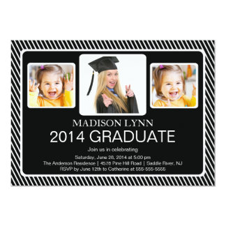 Modern Class of 2014 3 Photo Graduation Party Custom Invitations