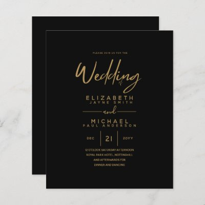 Modern Classic Black Gold Budget Wedding Invites