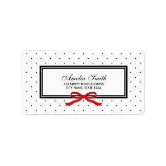 Modern Classic Black Polka Dot Red Ribbon Address Label