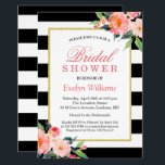 """Modern Classic Black Stripes Floral Bridal Shower Card<br><div class=""""desc"""">================= ABOUT THIS DESIGN ================= Modern Floral Black White Stripes Bridal Shower Invitation. (1) You are able to change the Black stripes to Any Color by clicking the &quot;Customize it&quot; button and then setting the background color. All text style, colors, sizes can also be modified to fit your needs. (2)...</div>"""