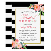 Modern Classic Black Stripes Floral Bridal Shower Card