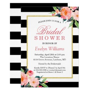 CardHunter Modern Classic Black Stripes Floral Bridal Shower Card