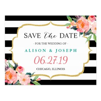 Modern Classic Black Stripes Floral Save the Date