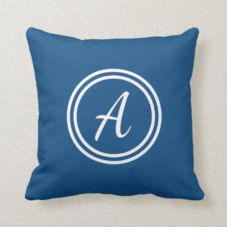 Modern Classic Blue & White Custom Monogram Pillow