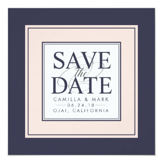 Modern Classic | Blush and Navy Save the Date Card