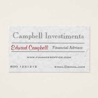 Modern Classic Corporation White Marble Stone Business Card