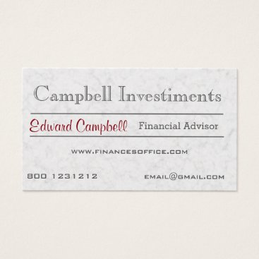 Professional Business Modern Classic Corporation White Marble Stone Business Card