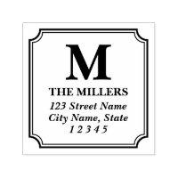 Modern Classic Family Name Monogram Address Self-inking Stamp