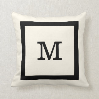 Modern Classic Ivory and Black Square and Monogram Throw Pillow