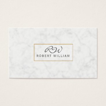 Professional Business Modern Classic Monogram Golden Frame White Marble Business Card