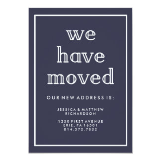 Modern Classic Navy Blue New Address Card