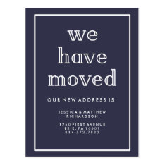 Modern Classic Navy Blue | We Have Moved Postcard at Zazzle