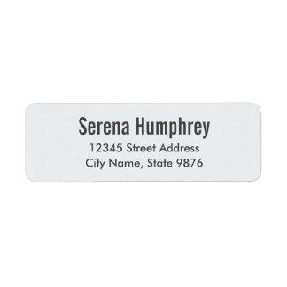 Modern -Classic White- Return Address Label