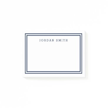 Beach Themed Modern Classic White with Double Navy Blue Borders Post-it Notes