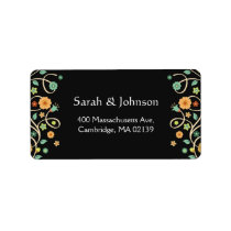 Modern Classy Black Stylish Nature Swirl Floral Label