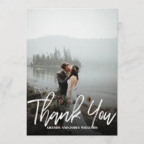 Modern classy Brushed  Photo WEDDING THANK YOU