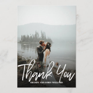 Modern classy Brushed  Photo WEDDING THANK YOU