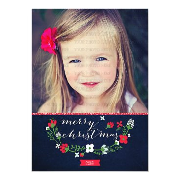 Christmas Themed Modern Classy Chevron Merry Christmas Photo Card
