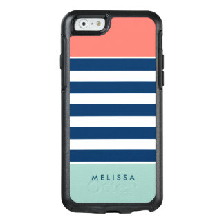 Modern Classy Coral Mint Navy White Stripes OtterBox iPhone 6/6s Case
