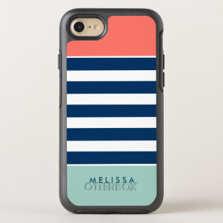 Modern Classy Coral Mint Navy White Stripes OtterBox Symmetry iPhone 7 Case