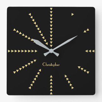 Modern Classy Decor Black Faux Gold Custom Name Square Wall Clock