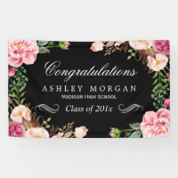 Modern Classy Floral Congrats Graduation Party Banner