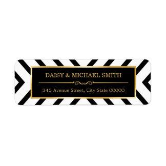Modern Classy Gold Black White Line Pattern Label