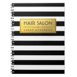 Modern Classy Gold Label and Black White Stripes Spiral Note Books
