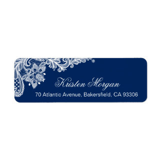 Modern Classy Navy Blue Floral Lace RSVP Label