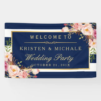 Modern Classy Navy Blue Floral Wedding Party Banner
