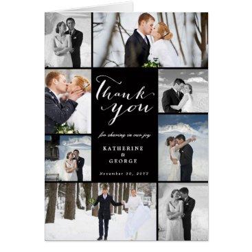 Wedding Themed Modern Classy Photo Collage Wedding Thank You Card